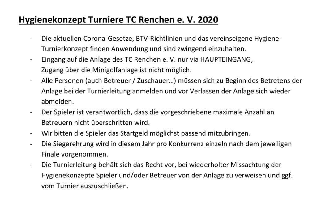 Hygienekonzept Turniere des TC Renchen 2020